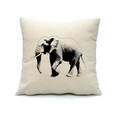 Elephant Pillow Cover Hand Screen Print on Nature by smiletee