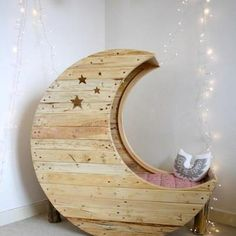 Instead of a crib, how about a fun moon chair for Brenya's room! (The pic. is of a hand made crib)