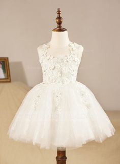 [178,54 zł] Ball Gown Knee-length Flower Girl Dress - Tulle Sleeveless Scoop Neck With Appliques