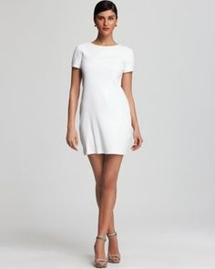 Sequin Short Sleeve Dress - a glimmering sequin finish transforms the white dress into an elegant evening alternative.