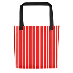 Only Red Off White Stripes Tote Bag. The ONLY is a collection of beautiful, minimalistic yet striking single colored tote bags. Red Tote Bag, Striped Tote Bags, Off White, Stripes, Collection, Color, Bags, Colour, Colors