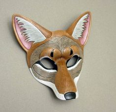 Coyote....handmade original leather mask by Merimask on Etsy