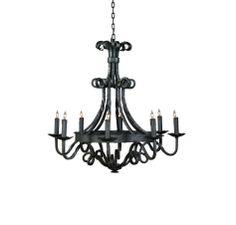 Wildwood Lamps 8-Light Chandelier in Wrought Iron in Ceiling Lights, Chandeliers, Indoor Chandeliers: LightsOnline.com