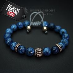 Mens Bracelet, Womens Jewelry, Blue Bracelet, Disco Ball, Armband, Mothers Day Gift, Zircon Bracelet, Braccialetto, Pulsera, Gift Bracelet by JuniperandEloise on Etsy