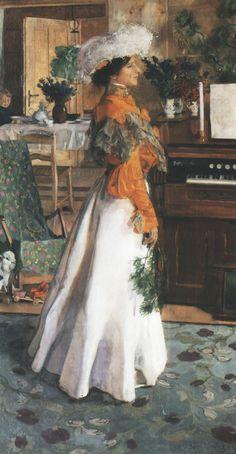 ▴ Artistic Accessories ▴ clothes, jewelry, hats in art - Józef Mehoffer | Portrait de la Femme de l'Artiste, 1904