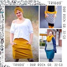 Frieda ist:….. – Das perfekte Pendant zum Oversize T-Shirt Leni. – Ein Rock in den Größen 32 – 50. – Frieda hat zwei Passen, eine Popasse und eine Passe zwischen…