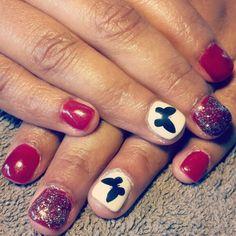 Red White Black glitter butterflies nails