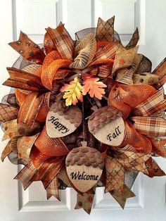 Decomesh Fall wreath acorn wreath happy fall by ADressyDoor Fall Mesh Wreaths, Fall Deco Mesh, Autumn Wreaths, Holiday Wreaths, Wreath Fall, Door Wreaths, Floral Wreaths, Spring Wreaths, Summer Wreath