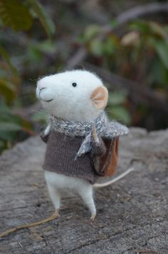 Little Traveler Mouse  Felting Dreams  READY TO by feltingdreams, $68.00     This is the only mouse that I'd be willing to have in my house!