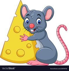 Cartoon mouse holding a big slice of cheese vector image on VectorStock Free Vector Images, Vector Art, School Frame, Paper Puppets, Cartoon Painting, Video X, Painting For Kids, Easy Drawings, Clip Art
