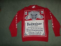 Men's Vintage Red & White BUDWEISER Logo Label Cable Knit Sweater, Size M, GUC! #BUDWEISEREXCLUSIVELYMADESWEATER #CrewNeckPullOverCableKnitSweater