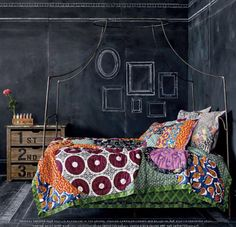 If I had anthropologie's chalk board wall, I would put photos in the frames.