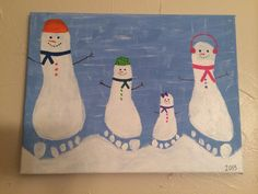 Our little snowman family! This was so easy to make and a lot of fun. Grab at least a 16x20 canvas, some paint and let your imagination flow!