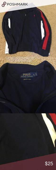 Polo Ralph Lauren men's Pima soft touch pullover Polo Ralph Lauren men's Pima soft touch pullover. Baby with red down the sleeves and a red pony. White under the arm. Size Large. Small barely visible stain almost like a drop of water ... Very hard to see. Worn a couple of times- very good condition. MSRP $125. Polo by Ralph Lauren Other