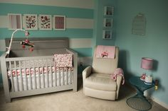 Aqua and Pink Nursery with Striped Accent Wall