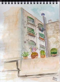 Acuarela de un edificio del barrio de Sants. Barcelona.