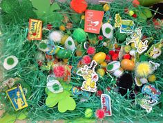 green eggs and ham sensory bin