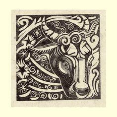 Zodiac series: Taurus (Apr20–May20) by Sarah Young, UK artist. Linoprint on handmade Bhutanese paper