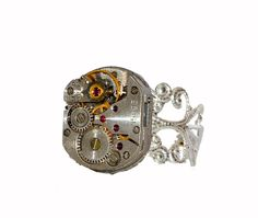 Squared Steampunk Watch Movement Ring. Silver Plated Filigree Ring. Hand Made in Cornwall, UK by thelongwayround on Etsy