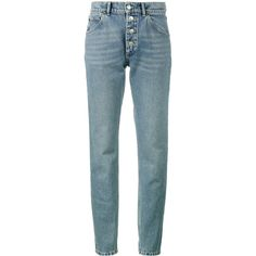 Balenciaga Tube jeans ($695) ❤ liked on Polyvore featuring jeans, blue, 80s jeans, balenciaga, button fly jeans, high rise jeans and button-fly jeans