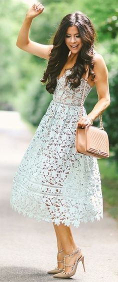 60 Trending And Feminine Summer Outfit Ideas Mint Lace Dress Office Outfits Women Casual, Stylish Summer Outfits, Summer Wedding Outfits, Summer Fashion Outfits, Casual Dresses For Women, Clothes For Women, Casual Wear, Light Blue Lace Dress, Mint Dress Lace
