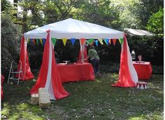 Setting up Circus Tent for Asher's Dumbo Circus Train Party---2nd Birthday