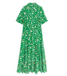 Women Floral Dots Print Midi Dress Short Sleeve Turn Down Collar Single Breasted Straight Dresses Color Green Size S Summer Holiday Dresses, Beautiful Summer Dresses, High Street Outfits, Straight Dress, Floral Chiffon, Crepe Dress, Fashion Prints, Blue Dresses, Short Sleeve Dresses