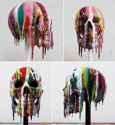 2headedsnake:  yellowtrace.com Markus Linnenbrink, SKULL 3 & 4 – lifesize painted teaching skull, 2011. Epoxy resin and pigments.