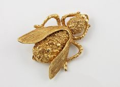Vintage MOTH Fly bug brooch pin Insect gold tone. $25.00, via Etsy.