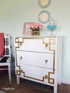 ikea tarva dresser hack gold greek key, painted furniture, woodworking projects