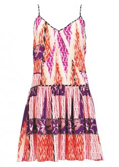 Matthew Williamson Zig Zag Patchwork Silk Summer Dress in Passion Fruit from Escape SS15