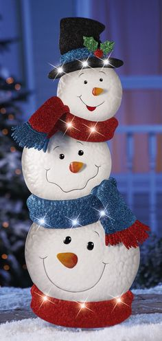 "Lighted Stacked Snowmen Christmas Holiday Yard Garden Stake 34""H Metal NEW I6641 #Unbranded"