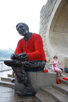 """Mister Rogers yarn bomb: """"There's only one person in this whole world like you; that's you yourself, and I like you just the way you are."""" So obsessed with knit graffiti. Knit Art, Crochet Art, Barbara Hepworth, I Like You, The Way You Are, Louise Bourgeois, Mr Rogers Sweater, Guerilla Knitting, Red Cardigan Sweater"""