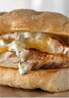 Smoked Tilapia Sandwich – Tender tilapia fillets topped with chopped fresh dill and horseradish-Dijon mayo make a dill-icious filling for this sandwich-for-two.