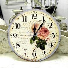 Uroczy zegar prowansalski z różami, 36zł.