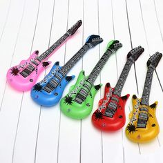 Cute Inflatable PVC Guitar Blow Up Rock Air Filler Toy For Beach Birthday Party