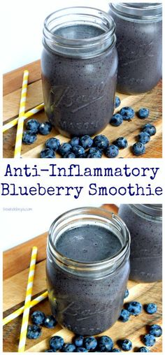 Anti-Inflammatory Blueberry Smoothie Fight inflammation in the tastiest way! Dairy free gluten free and vegan friendly! For more smoothie information, click the link. Smoothies Vegan, Juice Smoothie, Smoothie Drinks, Fruit Smoothies, Detox Drinks, Healthy Drinks, Healthy Snacks, Healthy Recipes, Detox Recipes