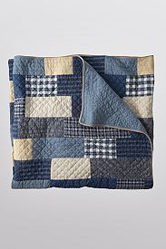 Weathered Blues Quilt ~ thrifted flannel shirts and softly worn denim.  Make a matching pillow!  This is doable...