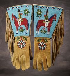 Plateau Pictorial Beaded & Fringed Gauntlets - c 1910 Native American Costumes, Native American Clothing, Native American Crafts, Native American Indians, Native Americans, Indian Beadwork, Native Beadwork, Native American Beadwork, Couple Halloween Costumes For Adults