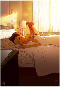 25 Illustrations That Capture the Joy of Living Alone as an Introvert Dog Illustration, Illustrations, Joy Of Living, Living Alone, Cute Art, Art Girl, Dog Love, Fantasy Art, Art Drawings