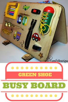 That's our favorite busy board with a big green shoe for boys and girls! Busy board Toy for autism Wooden busy toy Sensory board Latch board Activity board Busy book Toys for twins Toddler toys Christmas baby gift