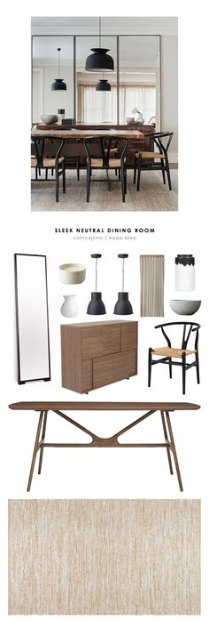 An amazing, sleek, neutral, midcentury modern, dining room designed by Arent & Pyke and recreated for Copy Cat Chic | look for less budget home decor by @audreycdyer