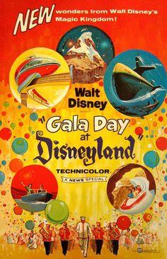 Vintage Disney Poster Gala Day at Disneyland Disney Cast, Old Disney, Disney Films, Disney Fun, Disney Trips, Disney Magic, Disney Parks, Disney Travel, Disney Stuff