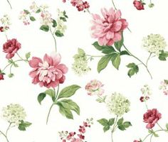 Kitchen, Bed & Bath, CKB77704 Peony is a wallpaper with large burgundy and pink peonies and light green hydrangeas on a white background.