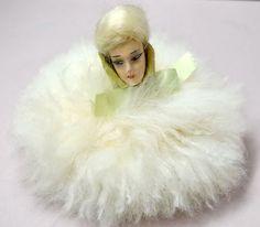 Antique Doll Face Powder Puff Boudoir Ribbon 1920s