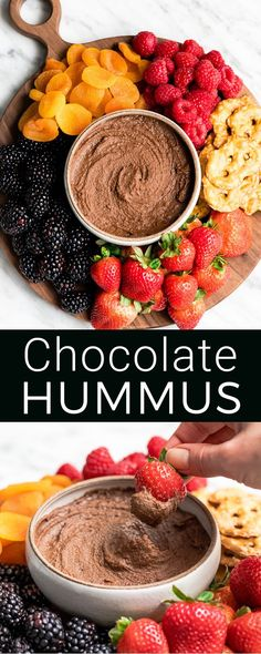 Healthy Chocolate Hummus Recipe is easy to make and ready in 5 minutes! It's a nutritious dip appetizer dessert snack or spread that everyone in my family including my kids loves. This dessert hummus recipe is gluten-free dairy-free has no refined sugar Dessert Hummus Recipe, Appetizer Dessert, Easy Hummus Recipe, Recipes With Hummus, Aperitivos Vegan, Healthy Vegan Dessert, Healthy Gluten Free Snacks, Healthy Snack Foods, Vegan Snacks On The Go