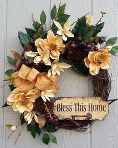 Magnolia Wreath, Grapevine Wreath, Spring Wreath, Summer Wreath, Bless This Home Plaque, Southern Colonial,  Door Wreath, Interior Decor by TheChicyShackWreaths on Etsy