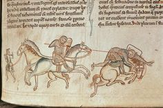 Ms 16 Roll 178 Sir William Marshal unhorses Baldwin of Guisnes at Monmouth, from 'Historia Major', 1233