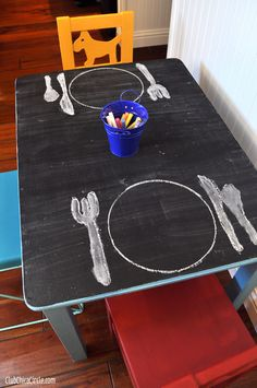 Chalkboard Paint Play Table