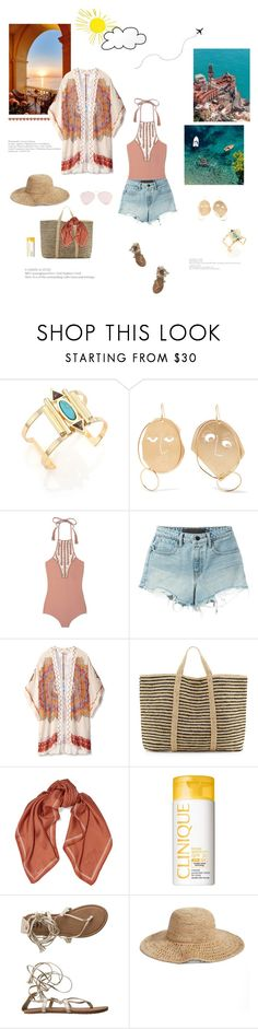 """""""Sunset on the beach"""" by minorseventh ❤ liked on Polyvore featuring Jules Smith, J.W. Anderson, Acacia Swimwear, T By Alexander Wang, Theodora & Callum, ViX, Sandro, Clinique, Billabong and Nordstrom"""